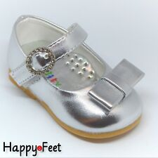 Baby Girls Cute Gold Shoe size1 (3-6mth) diamante buckle & rubber sole     £5.99