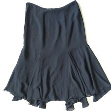 Chaps 10 Long Flowing Assymetrical Skirt Long Modest Length Black Lined Sheer