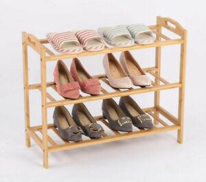 3 Tier Bamboo Shoe Rack 3 Tier Bamboo Stand Shoe Organiser Storage Shelf Unit