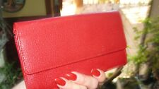 Slim Red Leather Talbot Long Snap Wallet