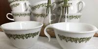 Corelle Pyrex Salt Pepper Creamer Sugar & 8 Cups Mugs Crazy Daisy Spring Blossom