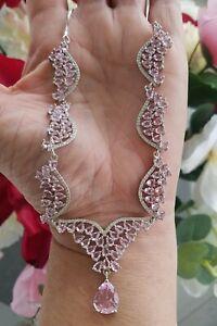 "Pear Cut Kunzite & Quartz Cluster Collar Necklace, 925 Silver, 18-19"""