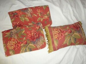 CROSCILL SERENA GOLD RUSSET RED PURPLE FLORAL (3PC) KING PILLOW SHAMS & PILLOW