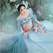 Blue Maternity Gown Lace Flower fairy Studio Maternity Photography Props Dress