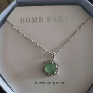 ring bomb party necklace genuine green quartz rhodium plate srp$128