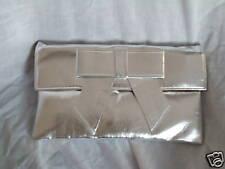 Grande PIATTO argento pochette / Argento Borsa a tracolla