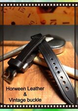 Müller&Son Genuine Horween Leather 20 mm Black Watch Strap Custom Made in USA