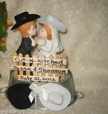 Wedding Party ~Git n' Hitched~ Sign Bucket of Love Cake Topper Western Cowboy