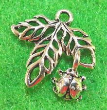 10Pcs. Tibetan Silver MAPLE LEAF & LADYBUG Charms Pendants Earring Drops L50