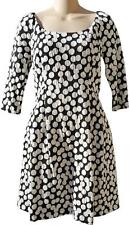 BETSEY JOHNSON JACQUARD BLACK WHITE DOT DRESS 3/4 SLV POCKETS FLARED SKIRT 8 NEW