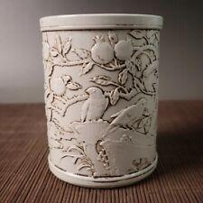 Collect old China Dynasty White Glaze carved peach birds Porcelain pen Brush Pot
