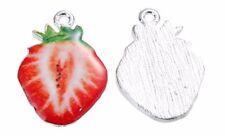 1x Anhänger Erdbeere, Metall, 19x25mm Schmuck Anhänger Zinklegierung Obst DIY