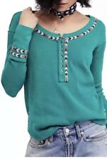 NWT Free People Jungle Green L Rainbow Thermal Embroidered Top Henley $68