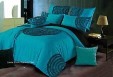 Laura Circle Teal / Aqua circular flocking QUEEN size Duvet / Quilt Cover Set