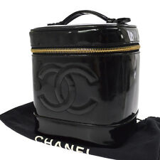 Auth CHANEL CC Cosmetic Vanity Hand Bag Black Patent Leather Vintage AK12668