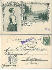 1903ca GRESSONEY SAINT JEAN GIOVANE GRESSONARA HOTEL MIRAVALLE Cartolina costume