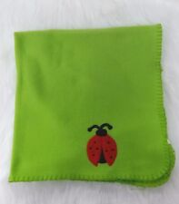 Greenbrier Baby Blanket Lime Green Ladybug Light Fleece Soft  Stitched Edge B293