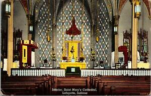 Lafayette IN Interior of Saint Mary's Cathedral Postcard unused 1910s/20s