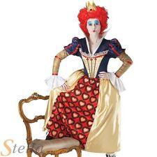 Ladies Red Queen Of Hearts Costume Alice Wonderland Womens  Fancy Dress