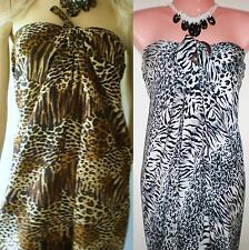 Bali Mumu Sarong Tube Dress Boho Hippy Beach Animal Print Size S M L XL 8-22