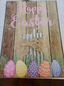 Happy Easter Wooden Hanging Plaque Festival Wall Door Decorative Sign Hanger