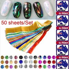 50Pcs Nail Art Foil Stickers Water Transfer Decal Polish Tips Stencil Manicure