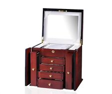 Diplomat Elegant Teak Wood Finish Jewelry Box Case Chest NEW