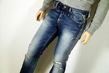 Neu - Replay Waitom - W32 L34 - Blue Denim Used - Regular Jeans  M93 - 32/34