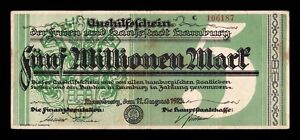 B-D-M Alemania Germany Notgeld Hamburgo 5000000 Mark 1923 MBC VF