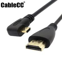 Cablecc Left Angled 90Degree Micro HDMI to HDMI Male HDTV Cable for Phone Tablet