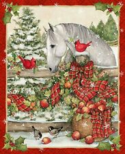"""Christmas Horse Fence Holiday Birds Susan Winget Cotton Fabric CP69114 36"""" Panel"""