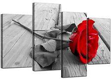 RED Rose Floral Canvas Wall Art Foto Set 130cm ampio XL stampa nella voce 4005
