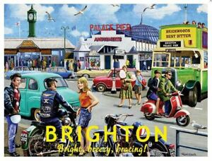 Brighton, Palace Pier 'Bright, Breezy, Bracing!' Metal Sign 400mm x 300mm (og)