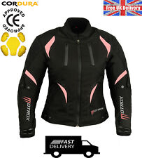 LADIES WOMEN MOTORBIKE MOTORCYCLE  WATERPROOF PINK TEXTILE JACKET CE ARMOURED
