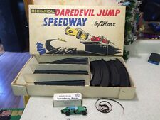 Vintage Marx Mechanical Daredevil Jump Speedway Track & Wind Up Tin Toy Car Rare