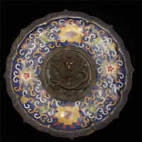 Collection Chinese Qianlong copper Cloisonne carving Dragon Tray plate