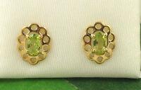GE2039 Solid 9ct 375 Ladies Yellow Gold Oval Real Peridot Filigree Stud Earrings