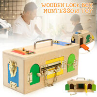10 Lock Box Kids Early Educational Toy Gift Wooden Montessori Practical Material