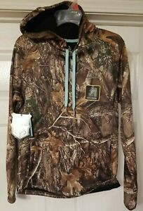 NEW REALTREE EDGE Women's Camouflage/teal Pullover Hoodie Size Sm (4-6) With...