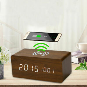 Digital LED Electric Alarm Clock With Phone Wireless Charger Thermometer Table