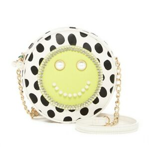 Betsey Johnson Smiley Face Faux Leather Crossbody Purse Citron Pearl Chain Bup80