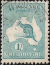 Australia 1916  1/- Blue-Green  -  Kangaroo On Map  SG.40 Used  Die:II