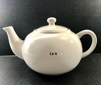 "Pottery Barn Coffee House Large White 10 Cup Teapot ""tea"" lettering embellishmt"