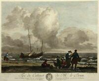 R.DAUDET(1737-1824), Küstenszenerie mit auslaufendem Segelboot, Kol. Kupferst.