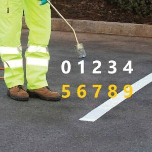 PREFORMED THERMOPLASTIC ROAD & CARPARK MARKING NUMBERS 150mm HIGH REFLECTIVE