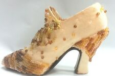 Decorative Collectable Womens Miniature Shoes  Beige Material with Beads