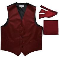 New Men's burgundy vest Tuxedo Waistcoat self tie bow tie and hankie set