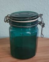 "Vintage teal blue green panel glass wire bale canister glass lid 6"" tall"