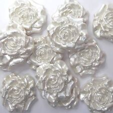 12 White Pearl Roses edible sugarpaste flowers wedding cake sugar decorations