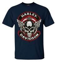 Harley-Davidson Men's Steel Winged Crew Neck Short Sleeve T-Shirt - Navy